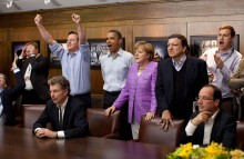 Prime Minister David Cameron of the United Kingdom, President Barack Obama, Chancellor Angela Merkel of Germany, JosŽ Manuel Barroso, President of the European Commission, and others watch the overtime shootout of the Chelsea vs. Bayern Munich Champions League final in the Laurel Cabin conference room during the G8 Summit at Camp David, Md., May 19, 2012. (Official White House Photo by Pete Souza)This official White House photograph is being made available only for publication by news organizations and/or for personal use printing by the subject(s) of the photograph. The photograph may not be manipulated in any way and may not be used in commercial or political materials, advertisements, emails, products, promotions that in any way suggests approval or endorsement of the President, the First Family, or the White House.