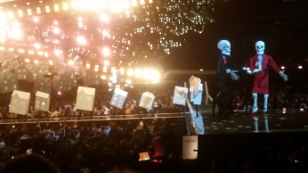 Trump and May Skeletons with Katy Perry: Credit Brig