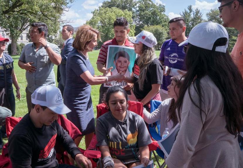 Pelosi_greets_DREAMers_fasting_outside_the_Capitol