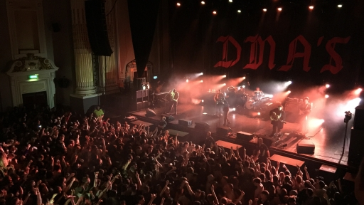 DMA's performing live in front of an ecstatic crowd at a live show in the U.K.
